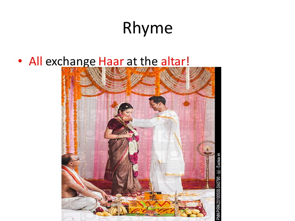 Rhyme All exchange Haar at the altar!
