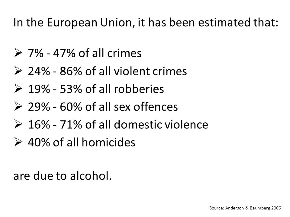 In the European Union, it has been estimated that:  7% - 47% of all crimes  24% - 86% of all violent crimes  19% - 53% of all robberies  29% - 60% of all sex offences  16% - 71% of all domestic violence  40% of all homicides are due to alcohol.