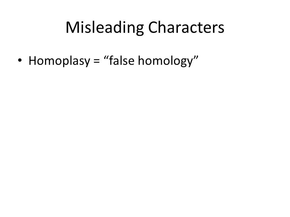 Misleading Characters Homoplasy = false homology