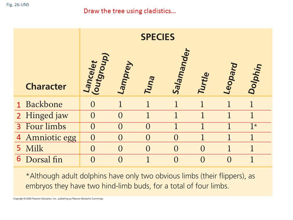 Fig. 26-UN5 Draw the tree using cladistics… 123456123456