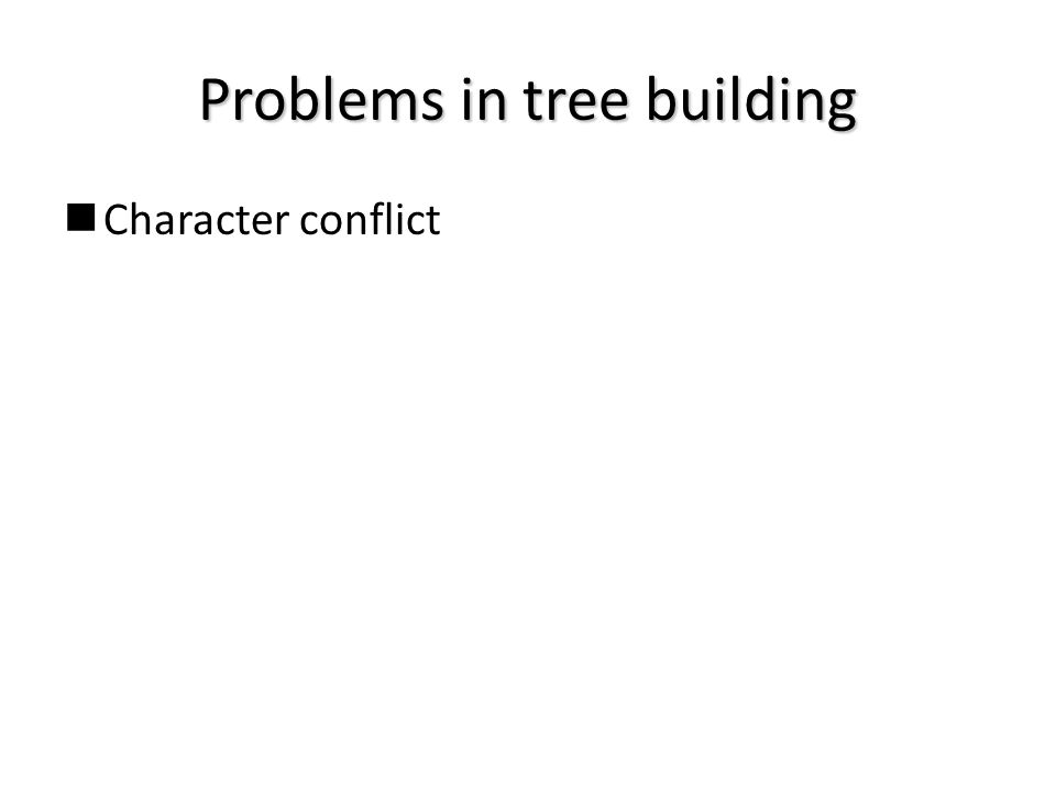 Problems in tree building Character conflict
