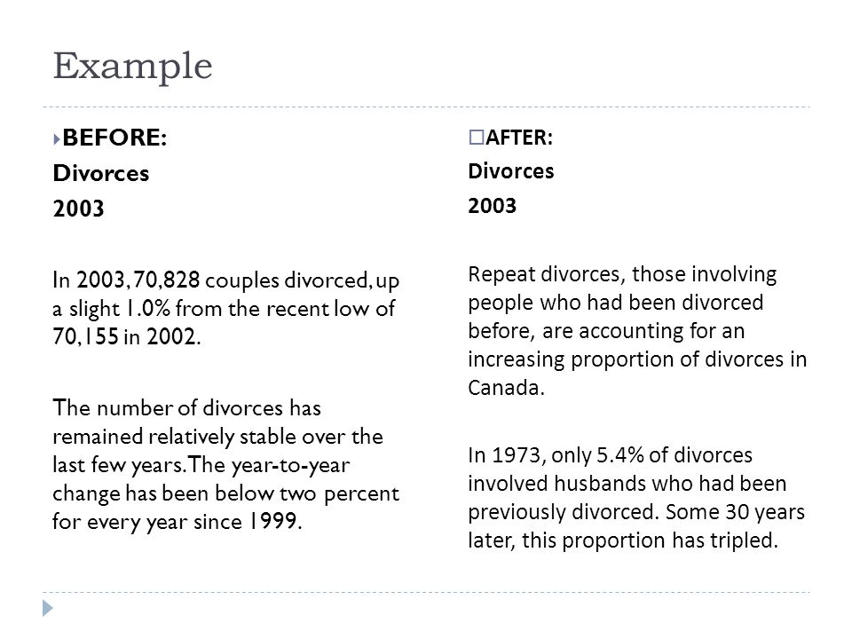Example  BEFORE: Divorces 2003 In 2003, 70,828 couples divorced, up a slight 1.0% from the recent low of 70,155 in 2002.