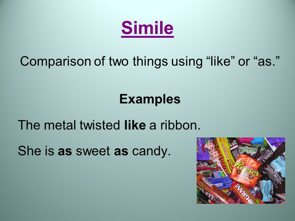 Types of Figurative Language Simile-A figure of speech comparing two unlike things often using like or as.