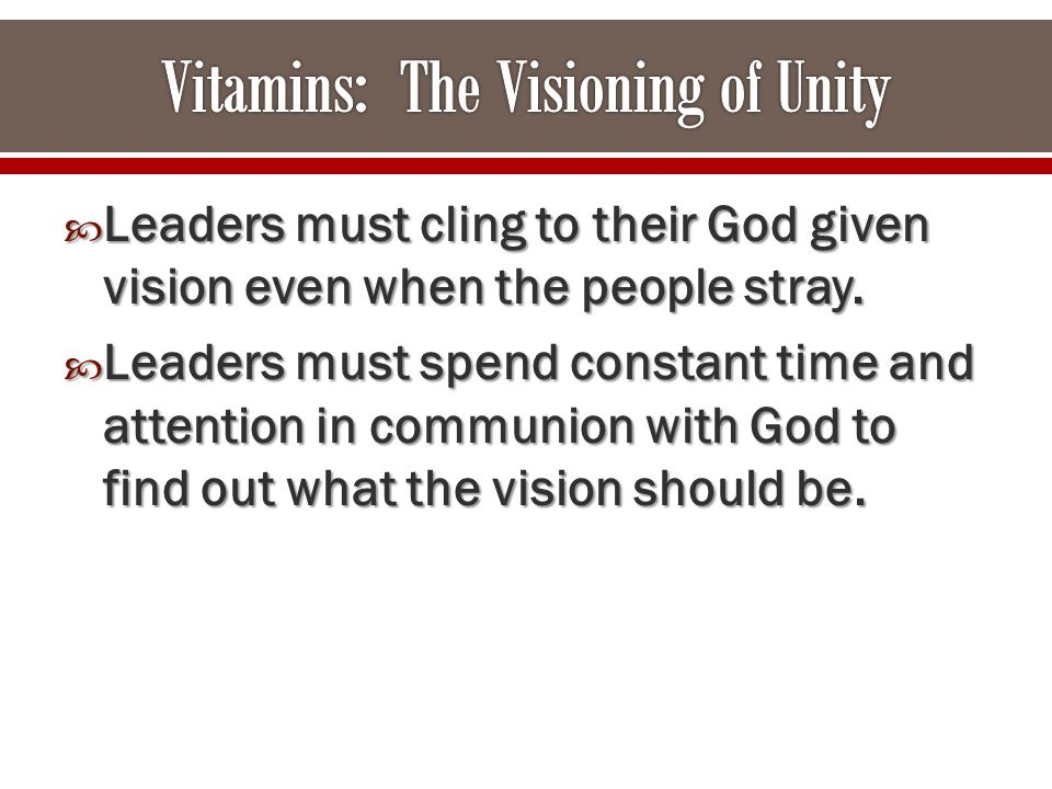  Leaders must cling to their God given vision even when the people stray.