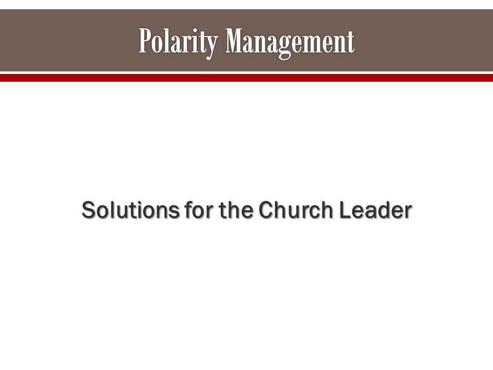 Solutions for the Church Leader