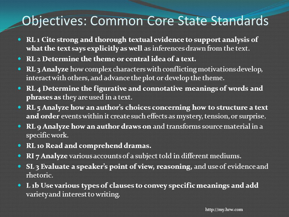 Objectives: Common Core State Standards RL 1 Cite strong and thorough textual evidence to support analysis of what the text says explicitly as well as