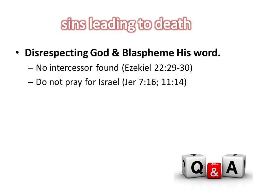 Disrespecting God & Blaspheme His word.