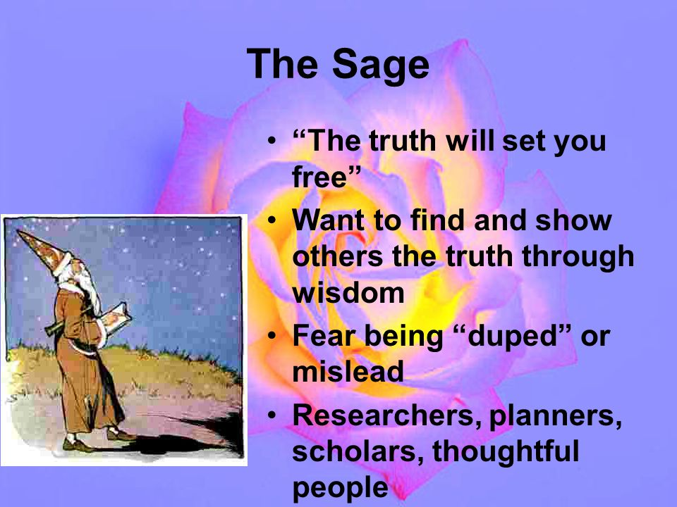 The Sage The truth will set you free Want to find and show others the truth through wisdom Fear being duped or mislead Researchers, planners, scholars, thoughtful people