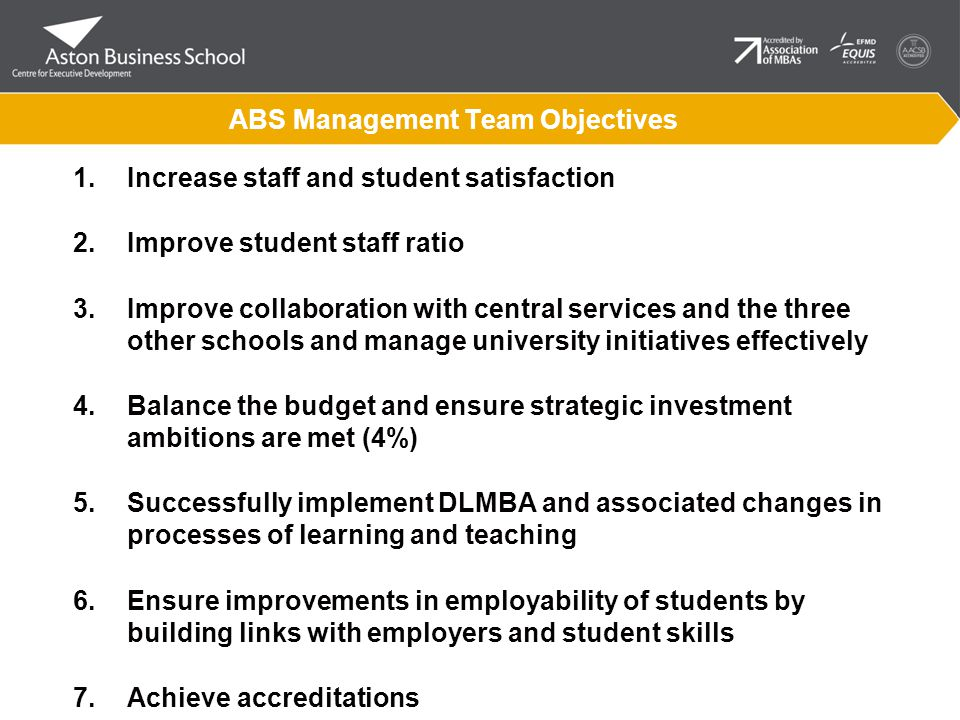 ABS Management Team Objectives 1.Increase staff and student satisfaction 2.Improve student staff ratio 3.Improve collaboration with central services and the three other schools and manage university initiatives effectively 4.Balance the budget and ensure strategic investment ambitions are met (4%) 5.Successfully implement DLMBA and associated changes in processes of learning and teaching 6.Ensure improvements in employability of students by building links with employers and student skills 7.Achieve accreditations