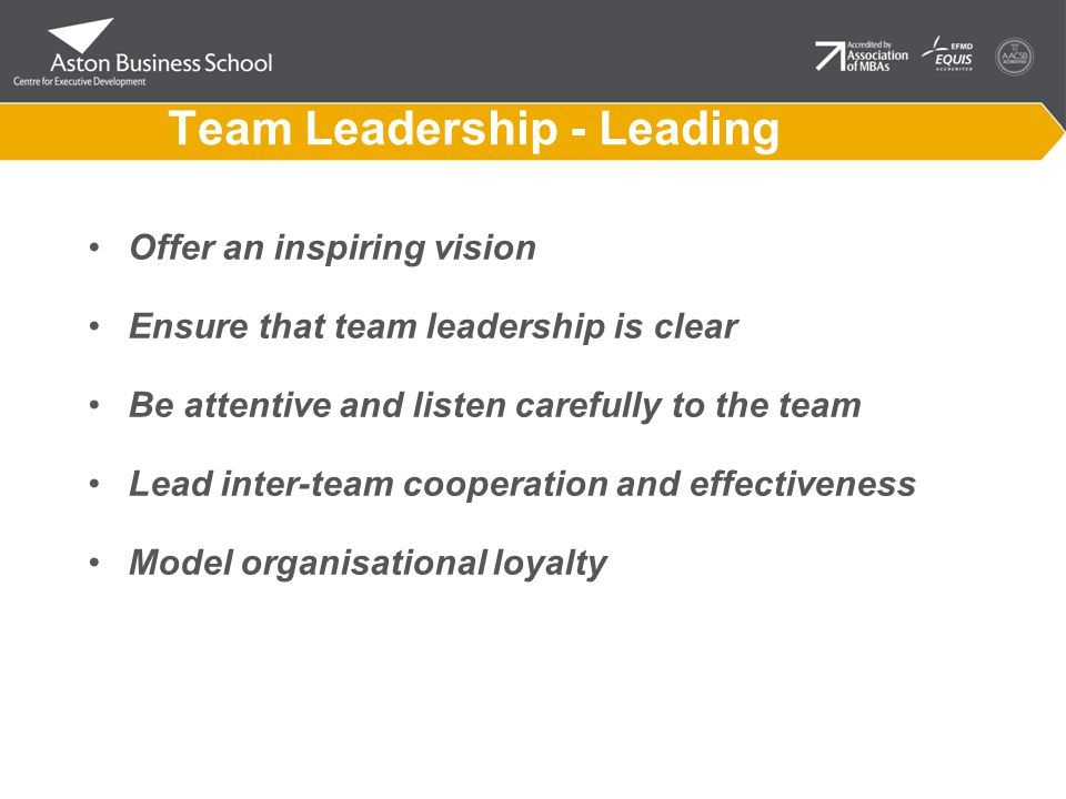 Team Leadership - Leading Offer an inspiring vision Ensure that team leadership is clear Be attentive and listen carefully to the team Lead inter-team cooperation and effectiveness Model organisational loyalty