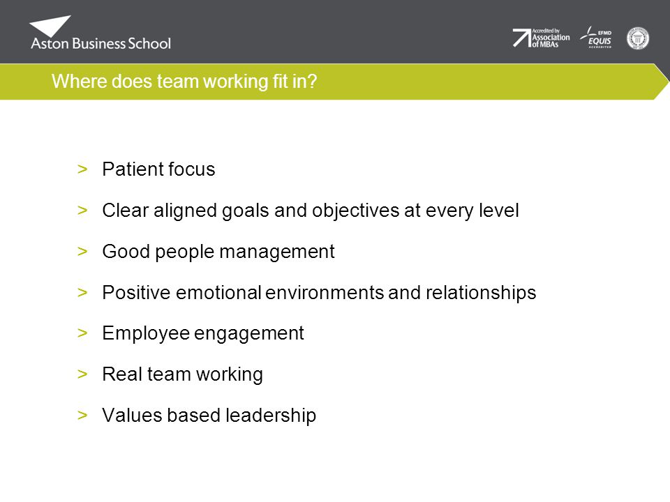 Where does team working fit in.