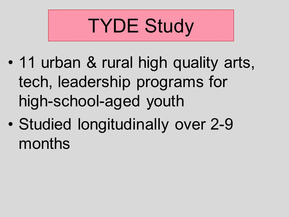 TYDE Study 11 urban & rural high quality arts, tech, leadership programs for high-school-aged youth Studied longitudinally over 2-9 months