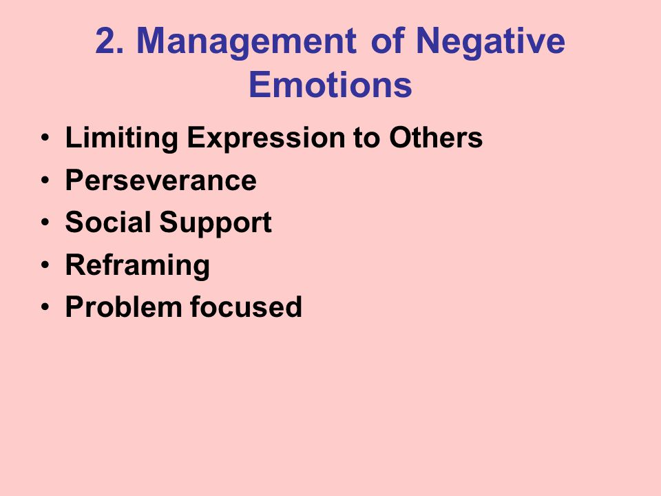 2. Management of Negative Emotions Limiting Expression to Others Perseverance Social Support Reframing Problem focused