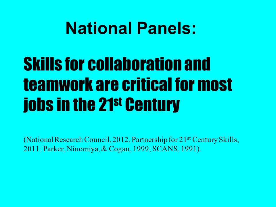 Skills for collaboration and teamwork are critical for most jobs in the 21 st Century (National Research Council, 2012, Partnership for 21 st Century Skills, 2011; Parker, Ninomiya, & Cogan, 1999; SCANS, 1991).