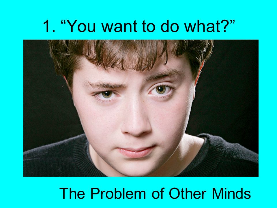 1. You want to do what The Problem of Other Minds