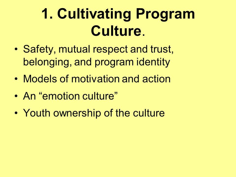 1. Cultivating Program Culture.