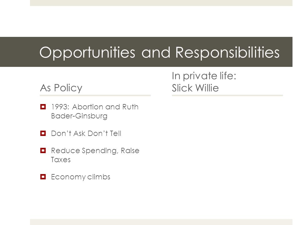 Opportunities and Responsibilities As Policy  1993: Abortion and Ruth Bader-Ginsburg  Don't Ask Don't Tell  Reduce Spending, Raise Taxes  Economy climbs In private life: Slick Willie