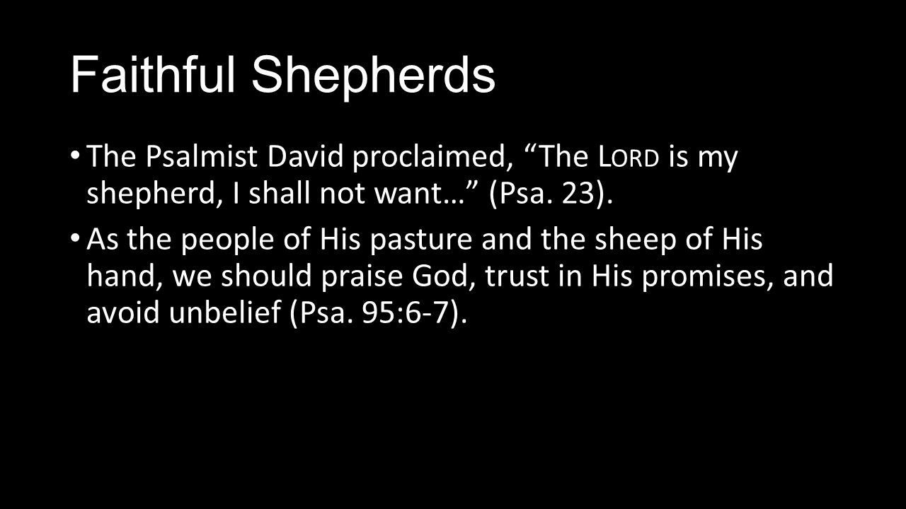 Faithful Shepherds The Psalmist David proclaimed, The L ORD is my shepherd, I shall not want… (Psa.