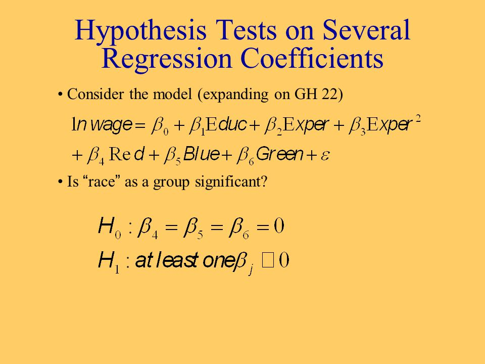 Hypothesis Tests on Several Regression Coefficients Consider the model (expanding on GH 22) Is race as a group significant?