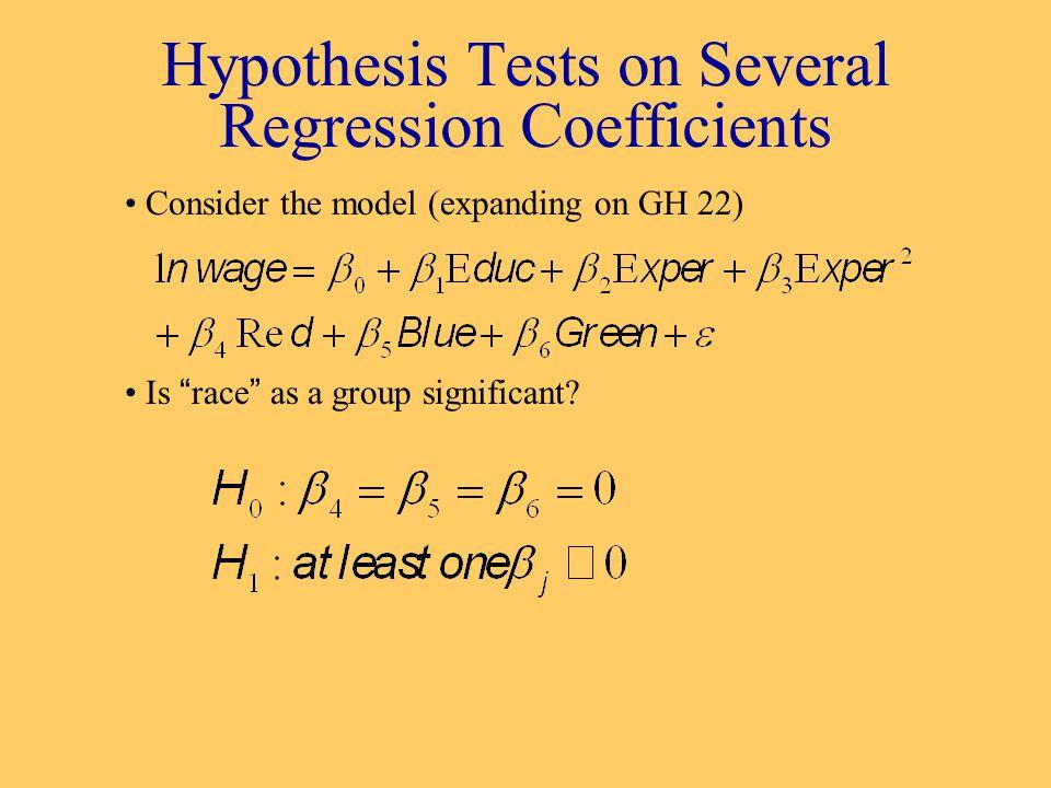 Hypothesis Tests on Several Regression Coefficients obsln(hrwage)educexpexp2bluegreenredpurplecheckrace 12.1484341614196010012 22.42036812749010012 31.60943816441936000114 41.6094388502500100011 52.3025851224576100011 62.01490312416100011 71.6094381011100011 82.9575111230900010012 93.1322281612144001013 102.99573211431849010012 112.6741491430900001013 123.58490712361296001013 132.3025851329841001013 142.5745191023529100011 152.7880931626676001013