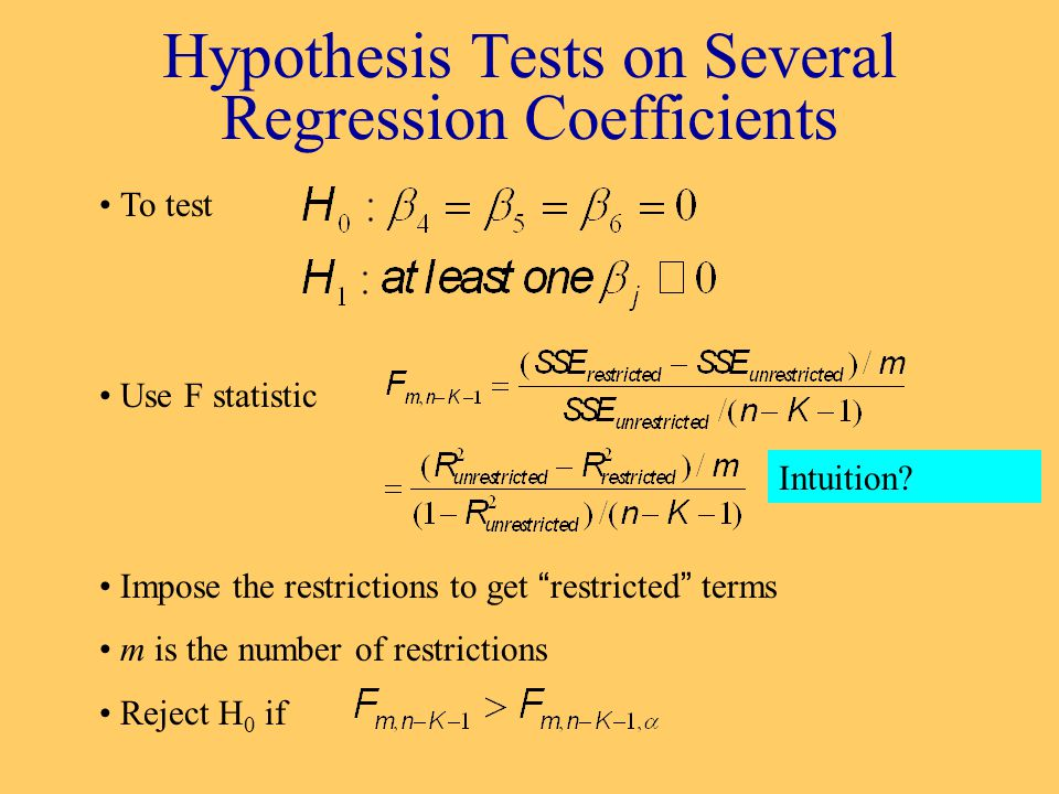 Hypothesis Tests on Several Regression Coefficients