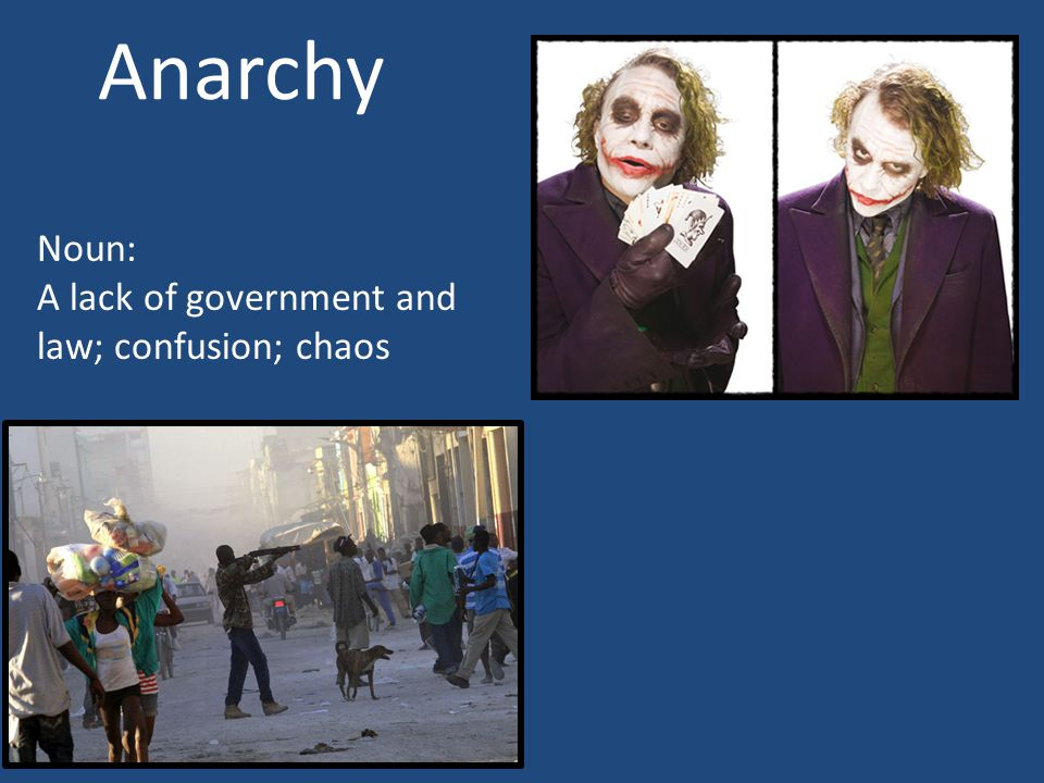 Anarchy Noun: A lack of government and law; confusion; chaos