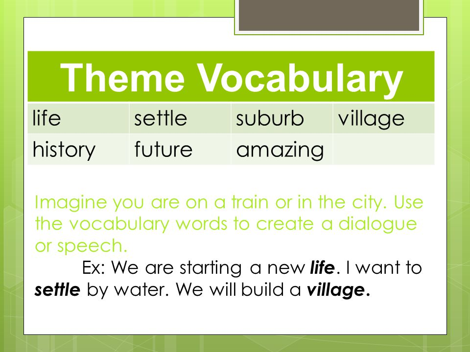 Build Vocabulary Connections Theme Vocabulary lifesettlesuburbvillage historyfutureamazing Imagine you are on a train or in the city.