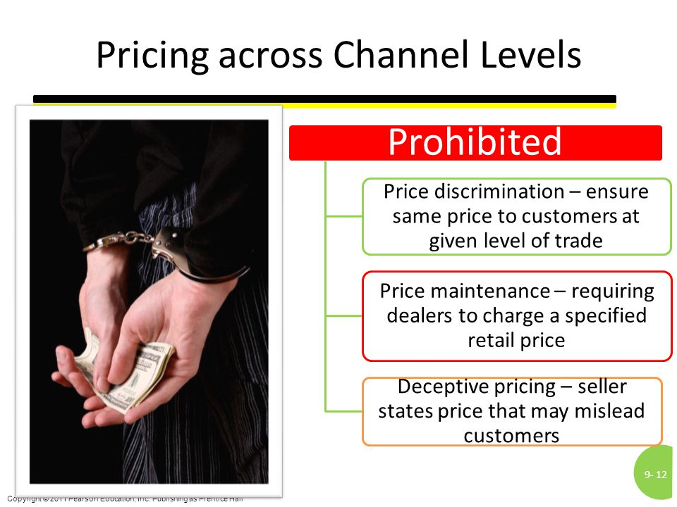 9-12 Copyright © 2011 Pearson Education, Inc. Publishing as Prentice Hall Pricing across Channel Levels Prohibited Price discrimination – ensure same