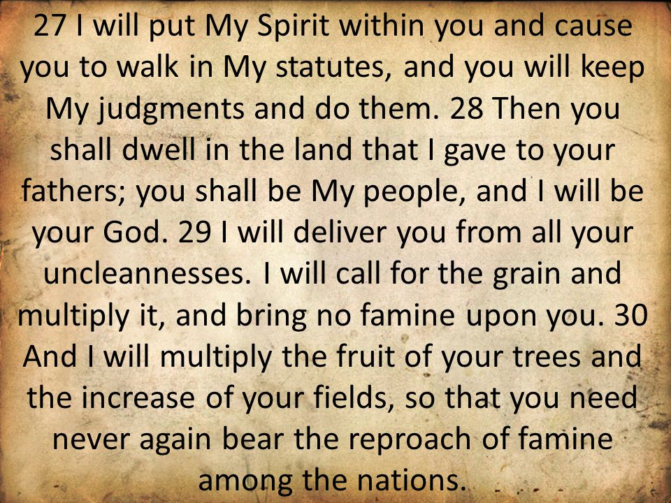 27 I will put My Spirit within you and cause you to walk in My statutes, and you will keep My judgments and do them.