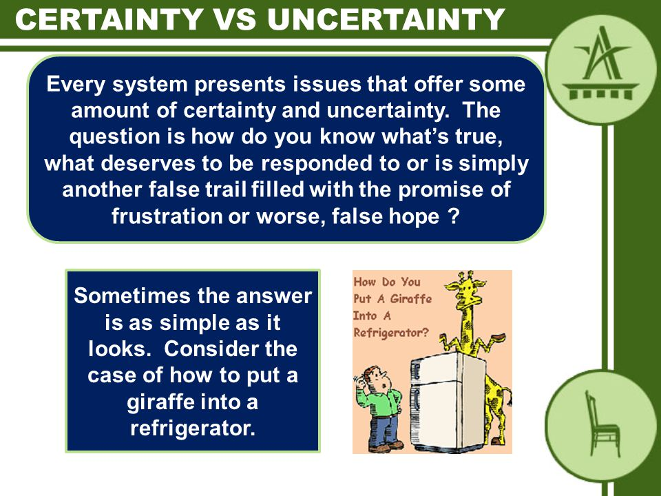 Every system presents issues that offer some amount of certainty and uncertainty.