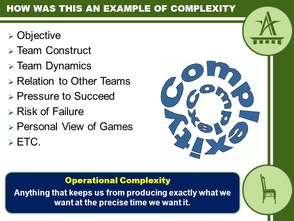  Objective  Team Construct  Team Dynamics  Relation to Other Teams  Pressure to Succeed  Risk of Failure  Personal View of Games  ETC.