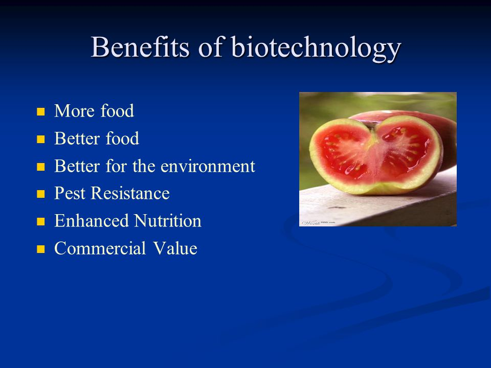 Benefits of biotechnology More food Better food Better for the environment Pest Resistance Enhanced Nutrition Commercial Value