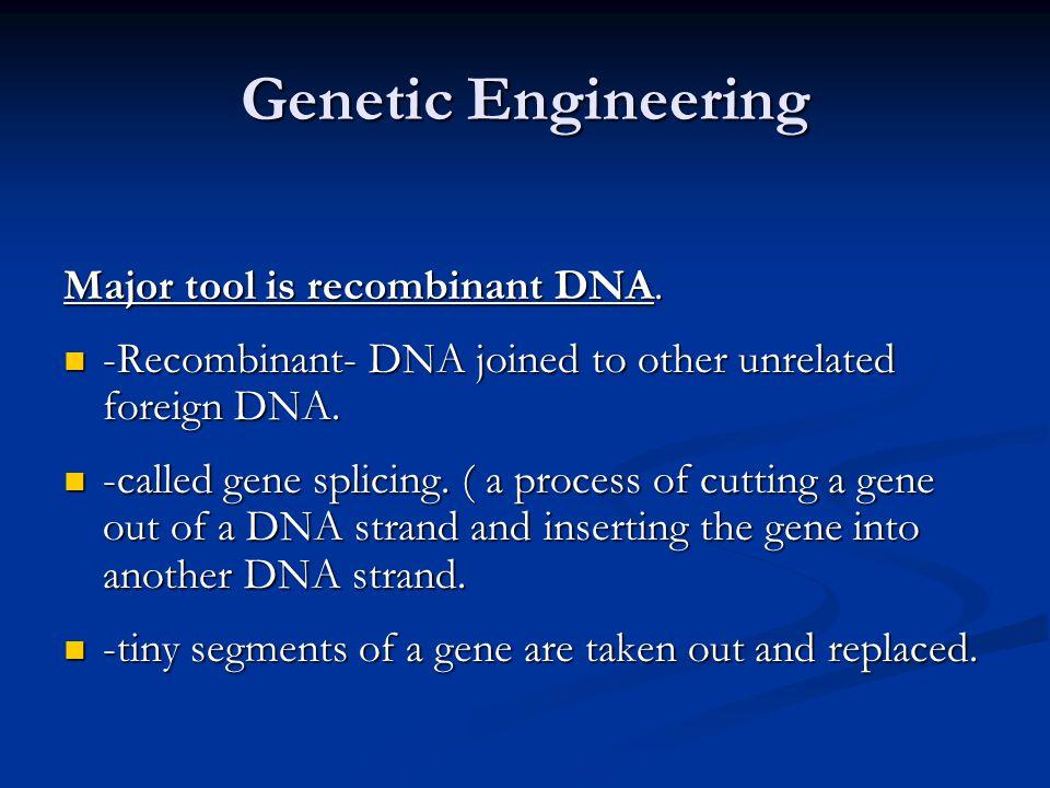 Genetic Engineering Major tool is recombinant DNA.