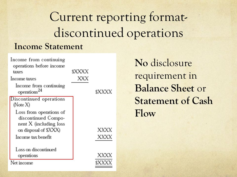 Current reporting format- discontinued operations Income Statement No disclosure requirement in Balance Sheet or Statement of Cash Flow