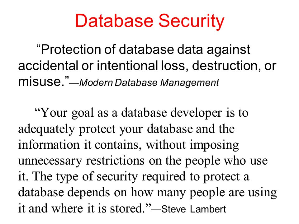 Database Security Protection of database data against accidental or intentional loss, destruction, or misuse. —Modern Database Management Your goal as a database developer is to adequately protect your database and the information it contains, without imposing unnecessary restrictions on the people who use it.