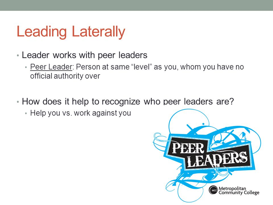 Think About It Besides your fellow Link Leaders, list four peer leaders you have and the teams/groups they are associated with