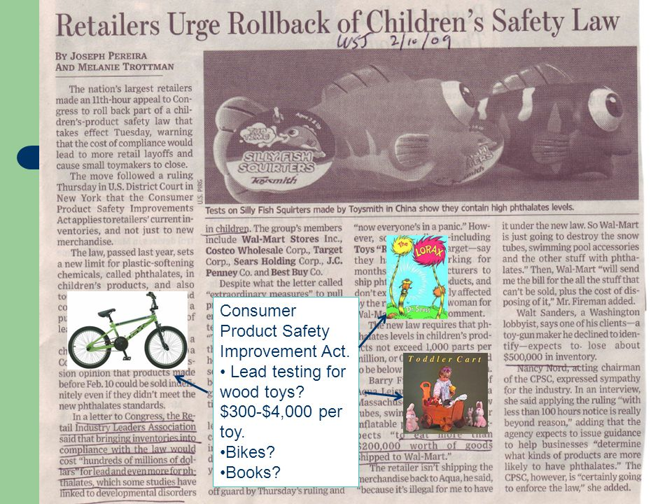 Consumer Product Safety Improvement Act. Lead testing for wood toys? $300-$4,000 per toy. Bikes? Books?
