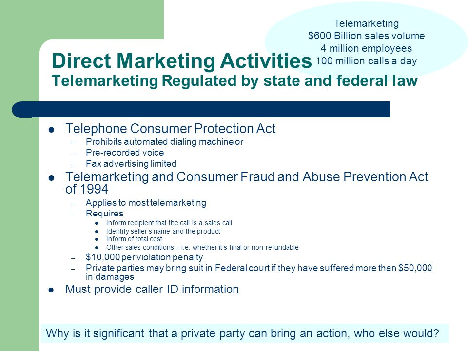 Telemarketing $600 Billion sales volume 4 million employees 100 million calls a day Direct Marketing Activities Telemarketing Regulated by state and federal law Telephone Consumer Protection Act – Prohibits automated dialing machine or – Pre-recorded voice – Fax advertising limited Telemarketing and Consumer Fraud and Abuse Prevention Act of 1994 – Applies to most telemarketing – Requires Inform recipient that the call is a sales call Identify seller's name and the product Inform of total cost Other sales conditions – i.e.