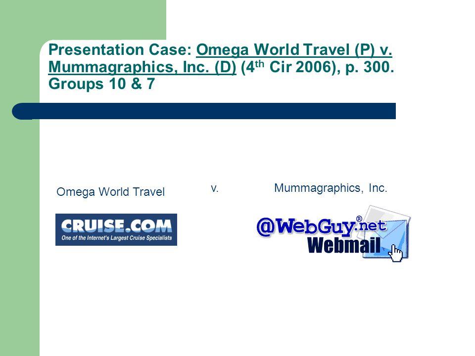 Presentation Case: Omega World Travel (P) v. Mummagraphics, Inc. (D) (4 th Cir 2006), p. 300. Groups 10 & 7 Omega World Travel Mummagraphics, Inc.v. 8