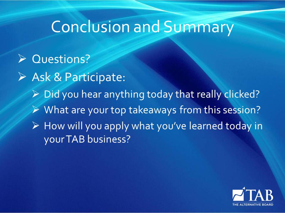 Conclusion and Summary  Questions.