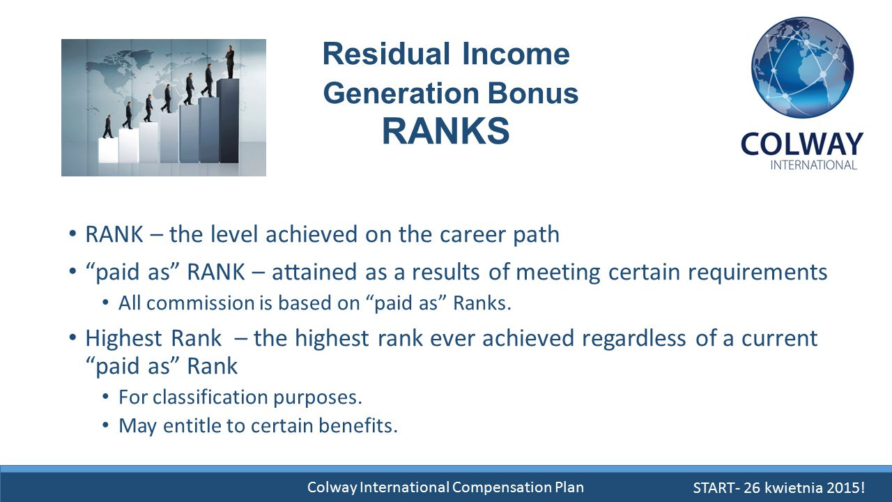 "Colway International Compensation Plan Residual Income Generation Bonus RANKS RANK – the level achieved on the career path ""paid as"" RANK – attained a"