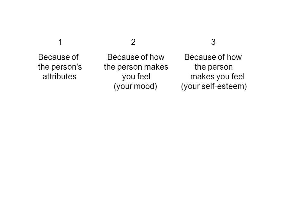 1 2 3 Because of Because of how Because of how the person s the person makes the person attributes you feel makes you feel (your mood) (your self-esteem)