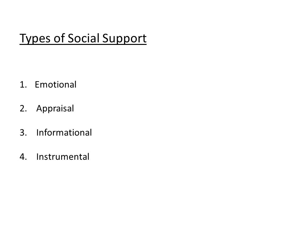 Types of Social Support 1.Emotional 2. Appraisal 3. Informational 4. Instrumental