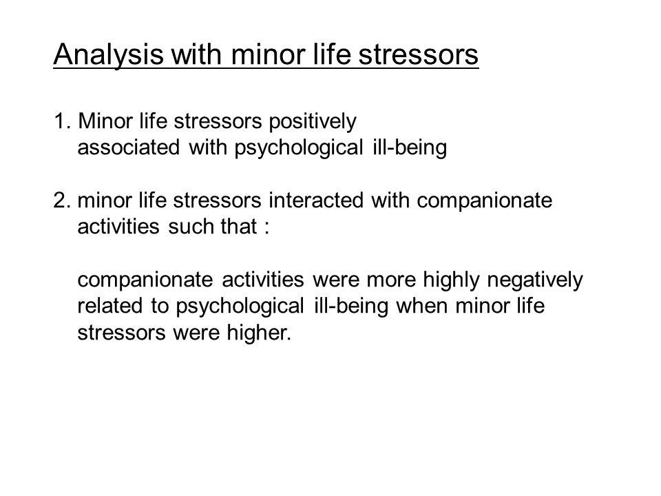Analysis with minor life stressors 1.