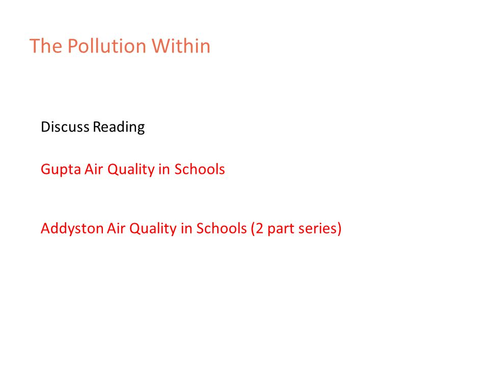 The Pollution Within Gupta Air Quality in Schools Discuss Reading Addyston Air Quality in Schools (2 part series)