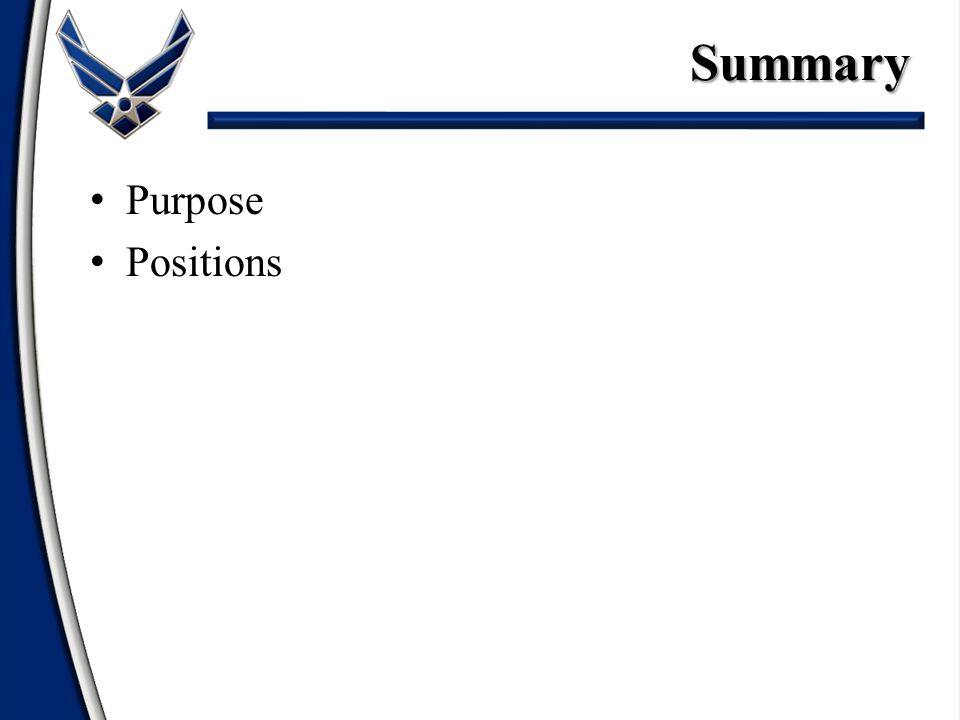 Purpose PositionsSummary