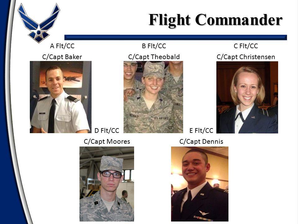 Flight Commander A Flt/CC C/Capt Baker B Flt/CC C/Capt Theobald C Flt/CC C/Capt Christensen D Flt/CC C/Capt Moores E Flt/CC C/Capt Dennis
