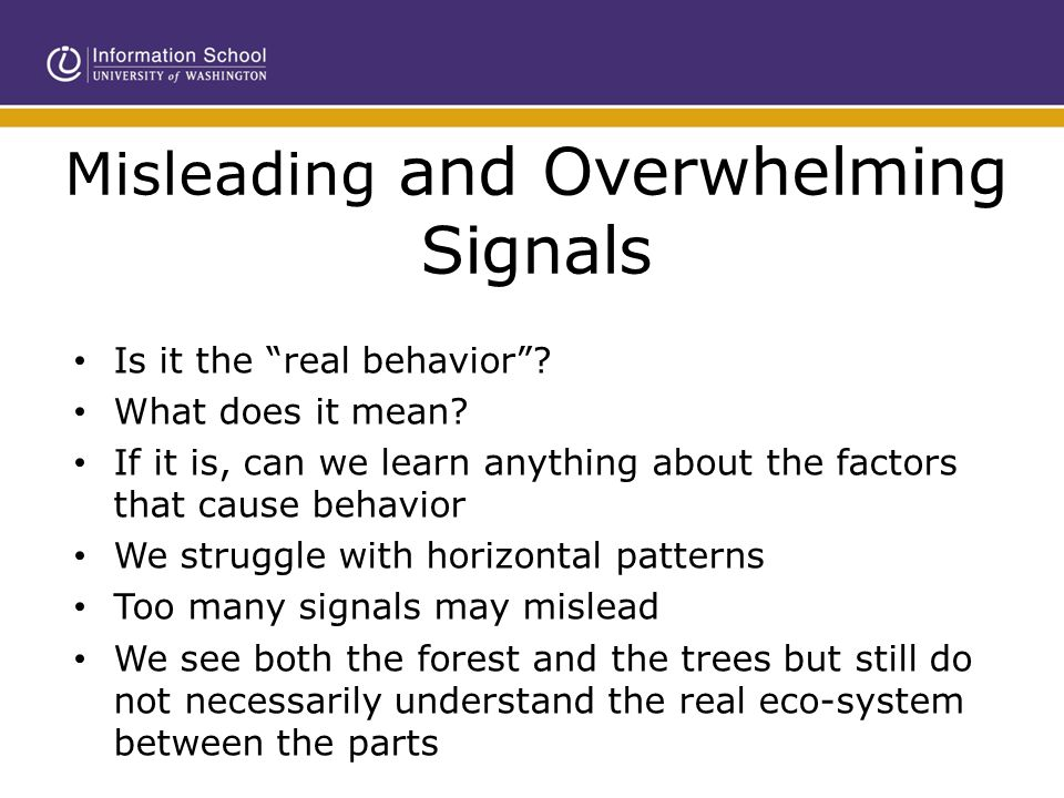 "Misleading and Overwhelming Signals Is it the ""real behavior""? What does it mean? If it is, can we learn anything about the factors that cause behavio"