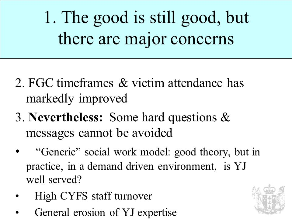 1. The good is still good, but there are major concerns 2.