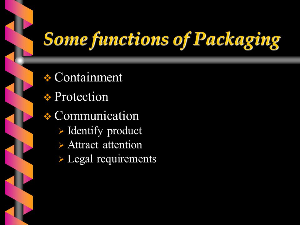 Some functions of Packaging  Containment  Protection  Communication  Identify product  Attract attention  Legal requirements